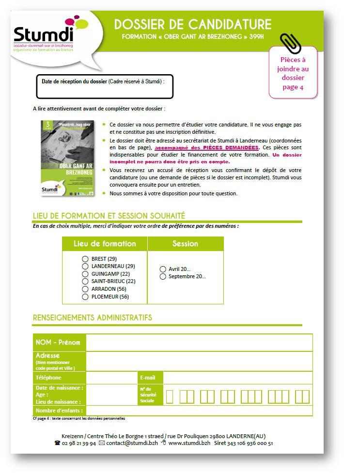 Dossier candidature Ober gant ar brezhoneg - Stumdi centre de formation en langue bretonne
