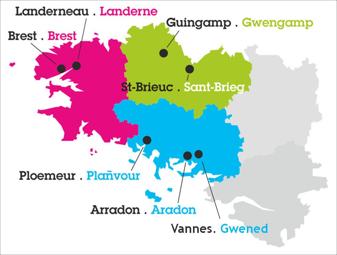 Sites- Brest - Landerneau - Guingamp - Saint-Brieuc - Ploemeur - Arradon - Vannes - Stumdi centre de formation en langue bretonne