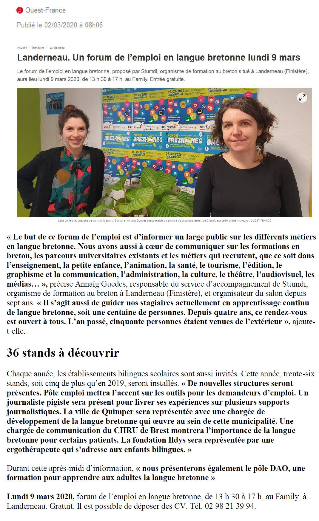 Article Ouest-France - Forum - Stumdi centre de formation en langue bretonne